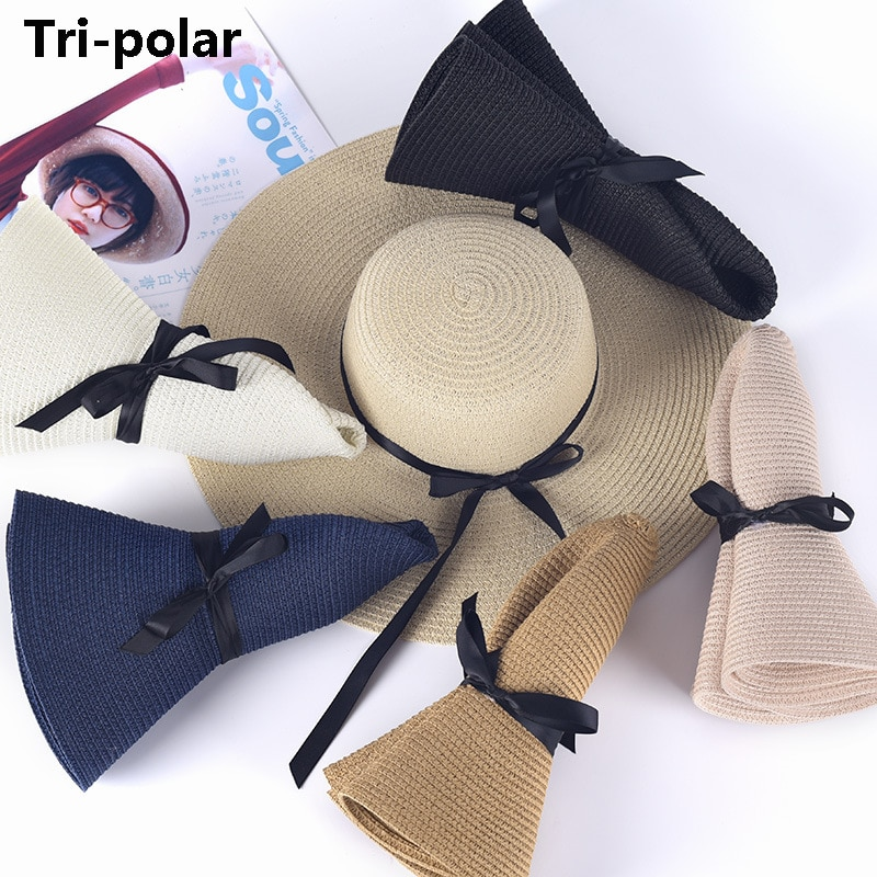 Tri-polar Sport Sun Caps Ribbon Beach Hat Summer Hats For Women Straw Cap Summer Women Foldable Wide Large Beach Sun  Beach Hat