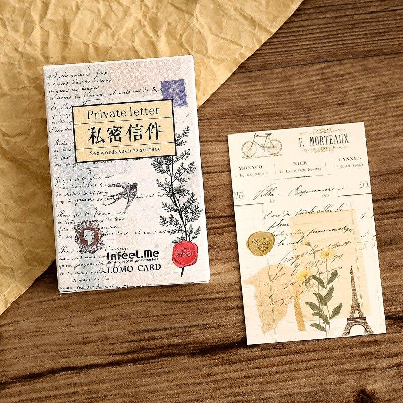 28 hojas/Set creativo carta privada Lomo postal/tarjeta de felicitación/tarjeta de deseo/regalos de Navidad y Año Nuevo