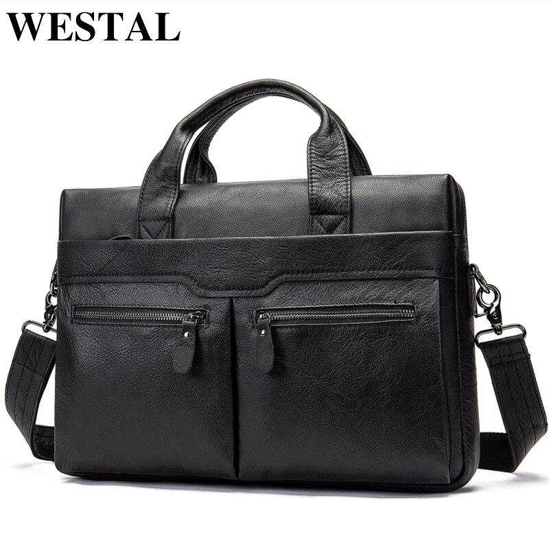 ويستال حقيبة جلدية أصلية للرجال حقيبة الأعمال حقائب الكمبيوتر المحمول للوثائق رسول حقائب حمل حقيبة 9005