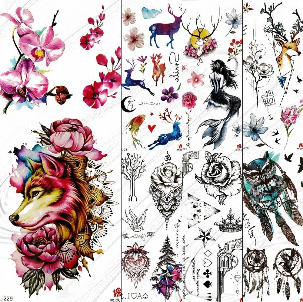Маленькие милые водонепроницаемые поддельные татуировки для девочек, наклейки для женщин, женские переводные тату с изображением единорог...