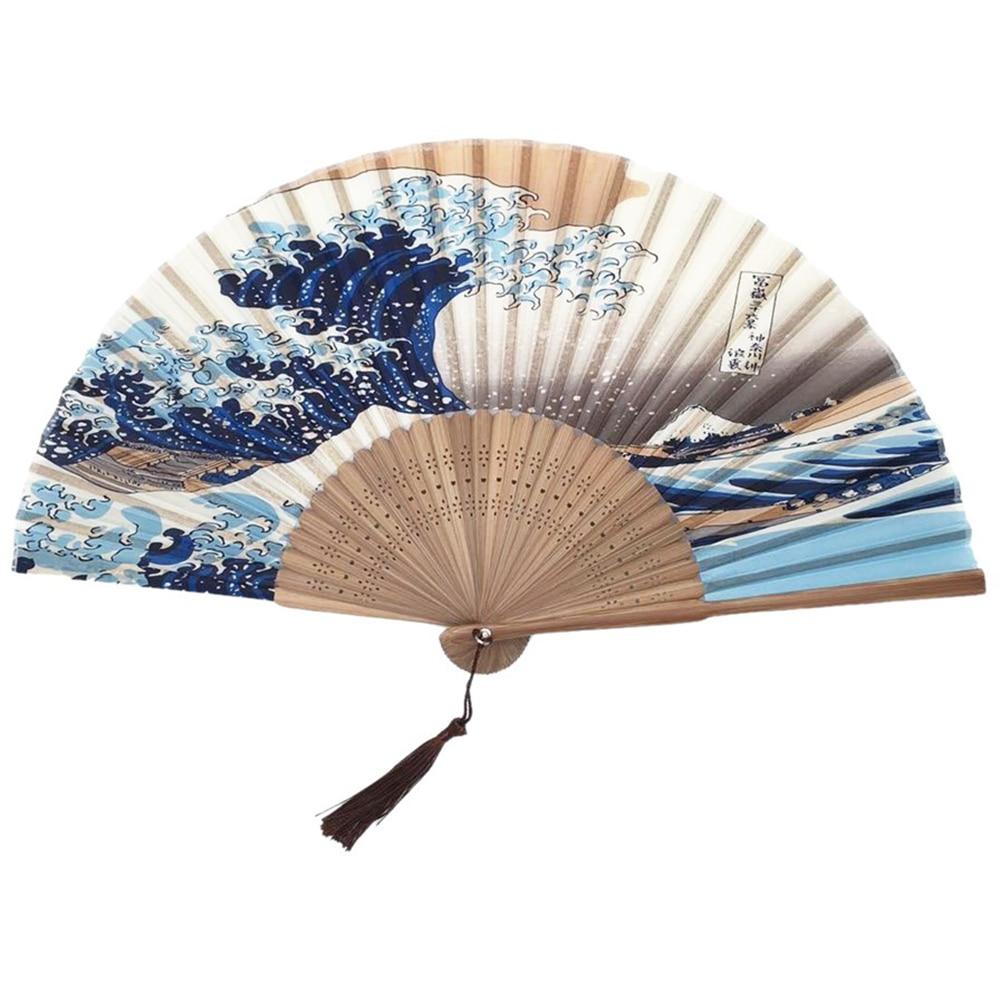 Vintage bambú plegable ventilador de seda montaje a mano Fuji Kanagawa olas japonés plegable ventilador bolsillo regalos boda regalo evento suministros