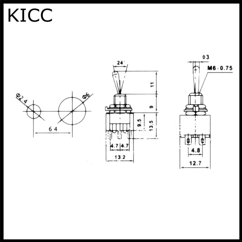 10Pcs MTS-223 Red 6 Pin 3 Position Momentary ON-OFF-ON Automatic Return Toggle Button Switch enlarge