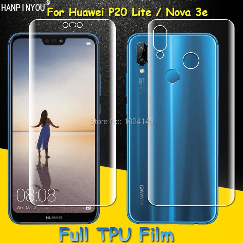 Front / Back Full Coverage Clear Soft TPU Film Screen Protector For Huawei P20 Lite , Cover Curved P
