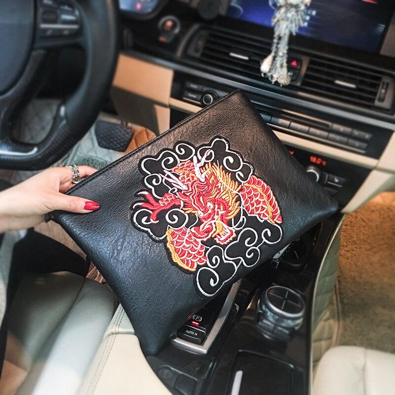 Bolso de mano chinos bordados diseño de dragón Tidog, bolso de mano para IPAD