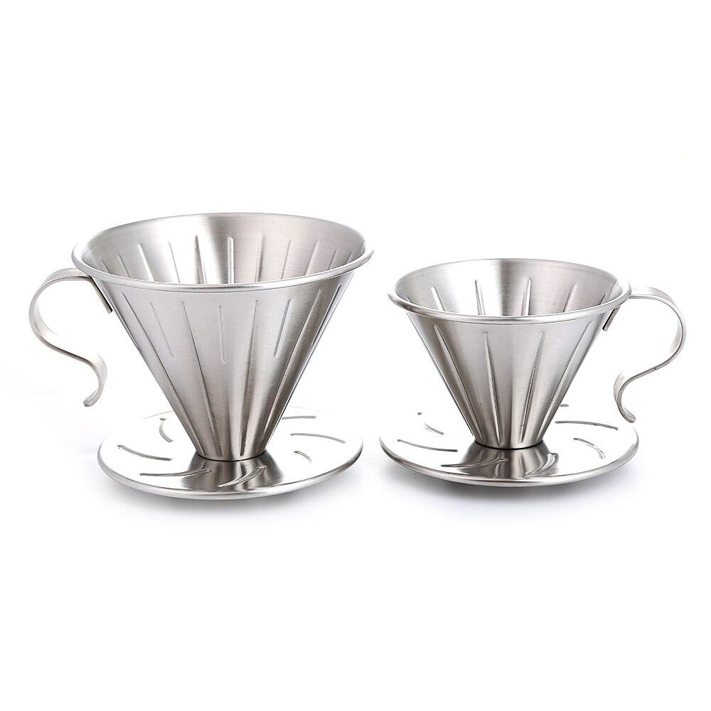 Realand Acero inoxidable Clever Pour Over Coffee Dripper Brewer filtro cónico cafetera con soporte perfecto