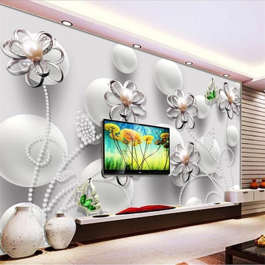 Custom wallpaper 3d murals pearl diamond beads flower solid mural living room TV background wall papers home decor 3d wallpaper