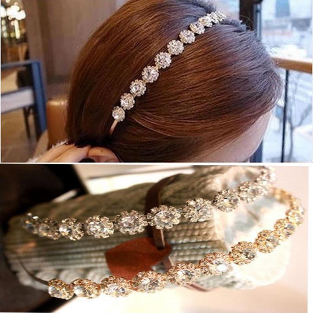 Feminino glitter sparkle rhinestone jeweled cabeça banda casamento nupcial hairband coroa headwear brilhante cristal acessório de cabelo