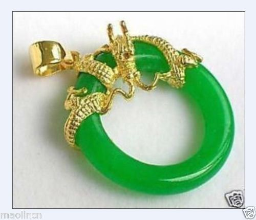 FREE shipping> >>>> Jewellery dragon green jade pendant necklace free chain