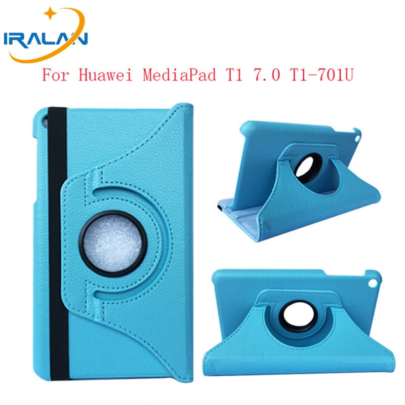 Вращающийся на 360 Градусов Кожаный флип-чехол для Huawei MediaPad T1 701u, чехол для планшета Huawei T1 7,0 T1-701u, чехол с рисунком личи + ручка