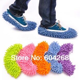 1 par (2 uds.)/lote de cubiertas antideslizantes para limpiar la ropa, limpieza del suelo, chenilla, microfibra para zapatos, paño para limpiar el suelo