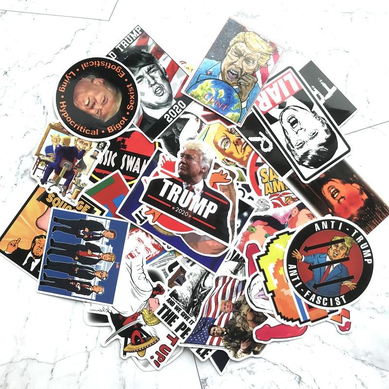 TD ZW 55 unidades por lote, pegatinas de dibujos animados de Trump para maletas, Skateboard, portátil, equipaje, nevera, teléfono, coche, etiqueta adhesiva DIY