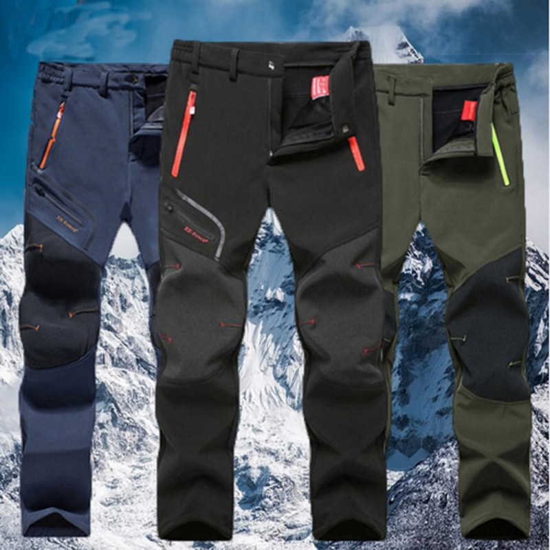 Men Oversized Plus size Winter Softshell Fleece Outdoor Pants Trekking Fish Camp Climb Hiking Ski Warm Travel Trousers Free ship