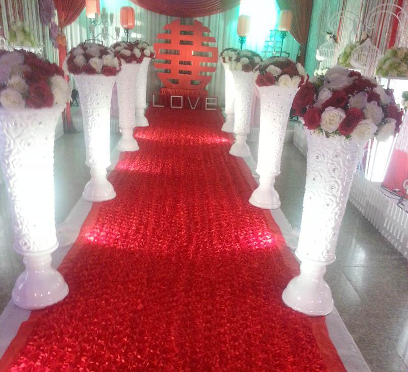 3d romântico subiram casamento carpet/carpet mesa de cobre decoração da festa de casamento da pétala de rosa vermelha pano de fundo do casamento decoração do partido