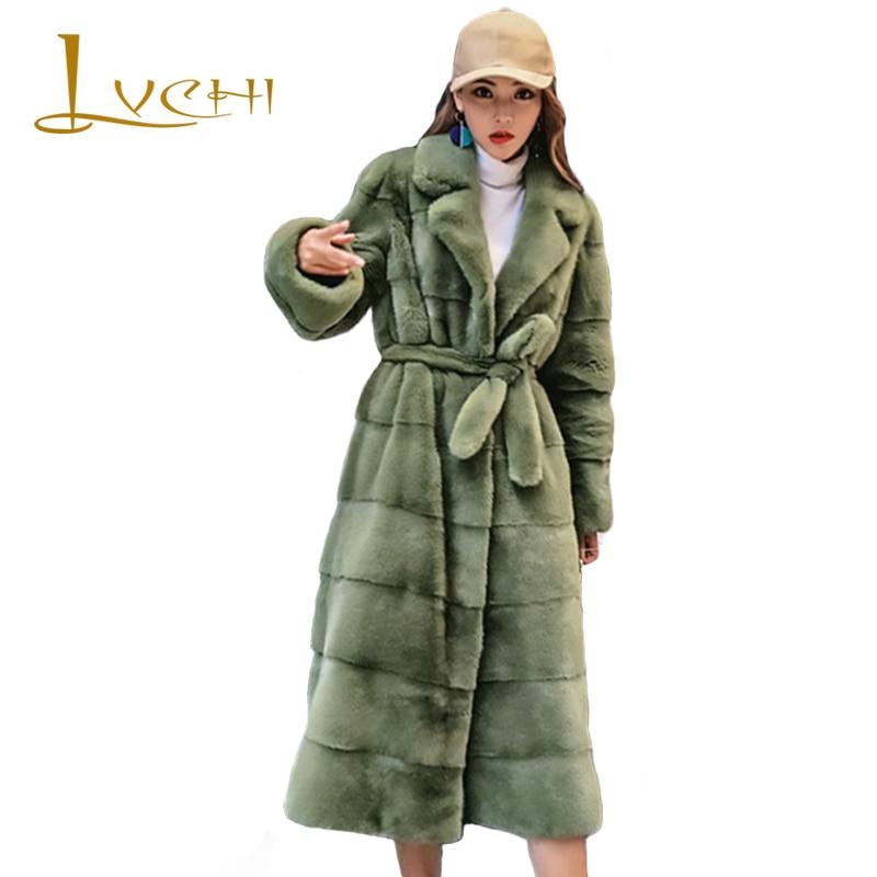 LVCHI Winter Female Sashes Long Coats Import Real mink jacket High-grade velvet Natural fur mink Women's clothing Suit collar