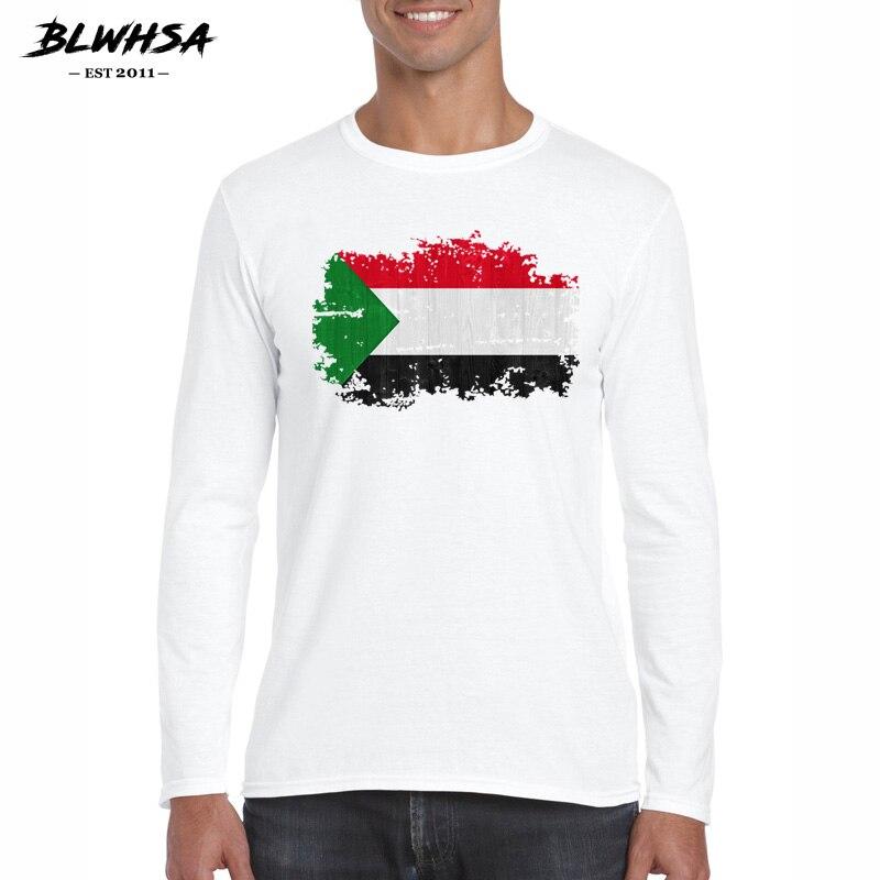 BLWHSA otoño moda Bandera de Sudan estilo nostálgico camiseta hombres algodón cuello redondo alta calidad impreso Tops camisetas de manga larga