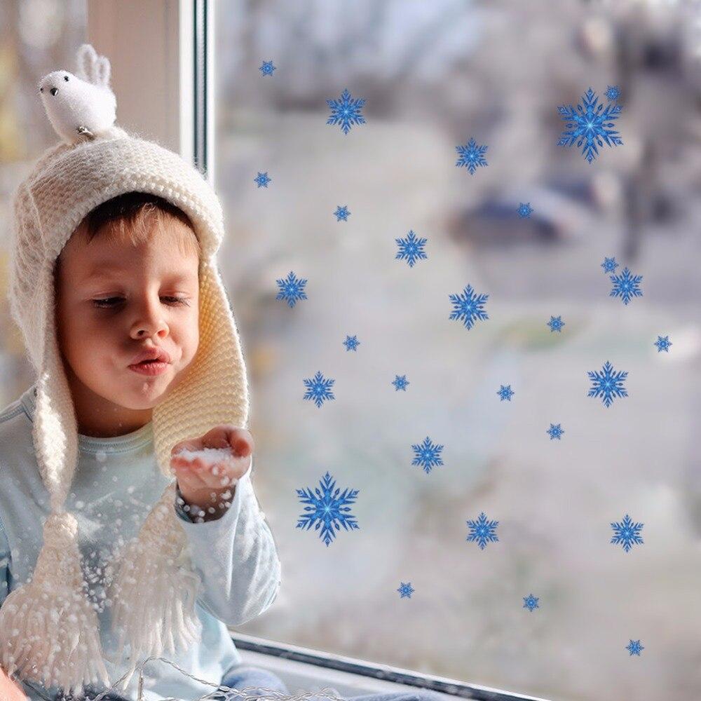 Decoración creativa para el hogar pegatinas de pared 3D patrón de copo de nieve azul realista para bebés niños habitación 21x30 CM Mural arte de papel