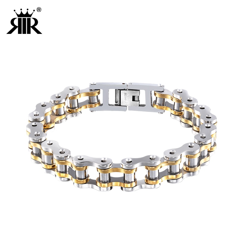 RIR Mens Motorcycle Chain Bracelet Stainless Steel Biker Steampunk Bicycle Wear Two Tone Gold Double Link Bracelets Unisex