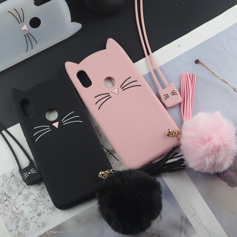 חמוד 3D Cartoon סיליקון מקרה עבור Huawei Y5 Y6 Y7 Y9 Y3II Y5II Y6II לייט ראש Pro 2018 2019 2017 זקן חתול יפה אוזני כיסוי