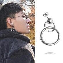 1 paire Double cercle boucles doreilles femme KPOP boucles doreilles mâle coréen en acier inoxydable Punk boucle doreille pour femmes homme bijoux