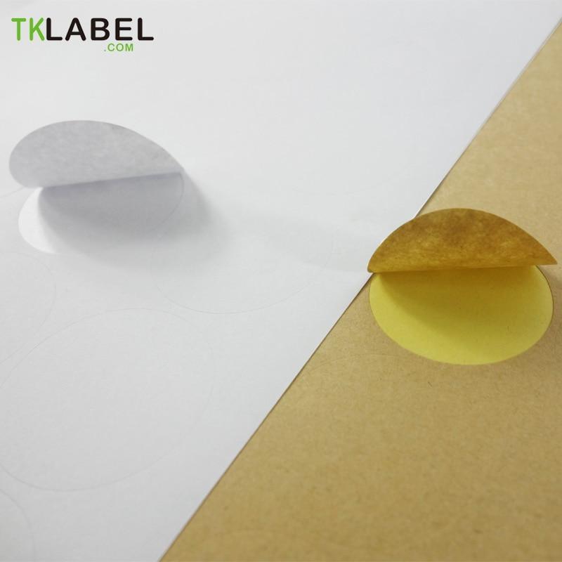 Kraft /Glossy White Round Label, 20 Sheets Printing Circle Stickers for Inkjet and Laser Printer 2cm 2.5cm 3cm 3.5cm 4cm 5cm 6cm