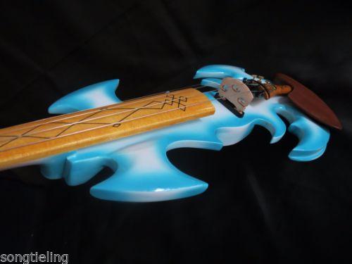 High quality blue color fancy Song art streamline 4 strings 4/4 electric violin enlarge