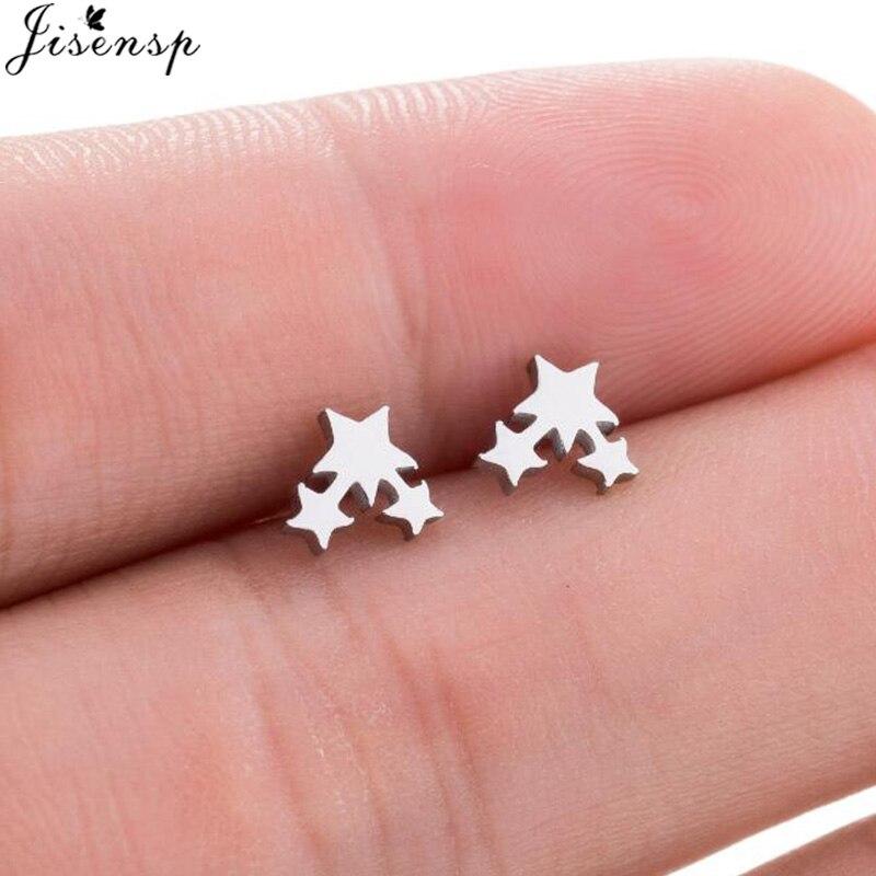 Jisensp nouveau 3 étoiles boucles doreilles couleur noire en acier inoxydable boucles doreilles BTS Punk boucles doreilles pour femmes bijoux oorbellen