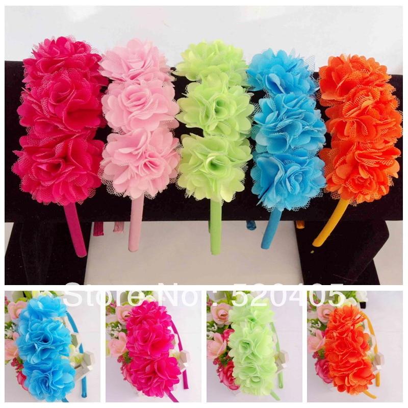 Mini tres Mash flores en una fila cinta de raso Flor del ganchillo banda de pelo Corea diadema para las niñas frente bandas 20 unids
