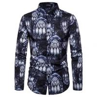casual long sleeve shirt mens fashion classic abstract print mens formal shirt breathable mens