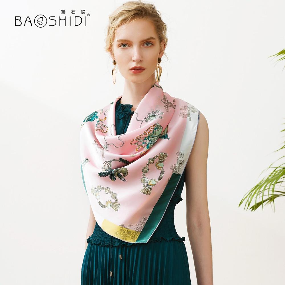 [BAOSHIDI] 2018 projekt 100% jedwabny plac szalik, moda szalik, luksusowe marki szal, letnie szale kobiety, muzułmański hidżab pani