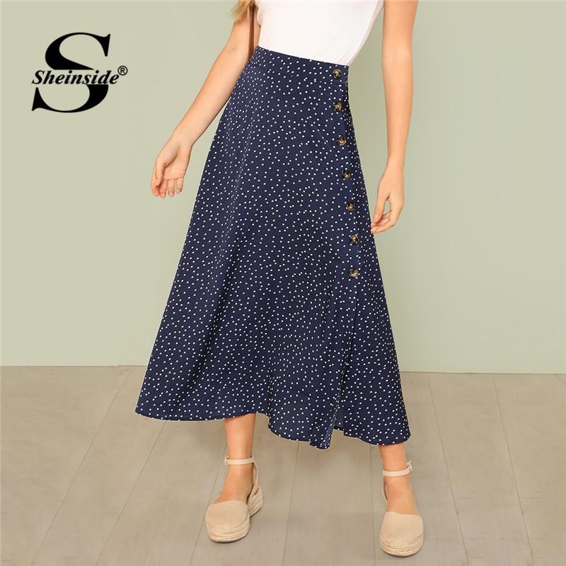 Sheinside Navy Polka Dot Slit Side Long Skirt mujer Vacaciones verano playa faldas 2020 ropa de mujer moda Mediados de cintura falda