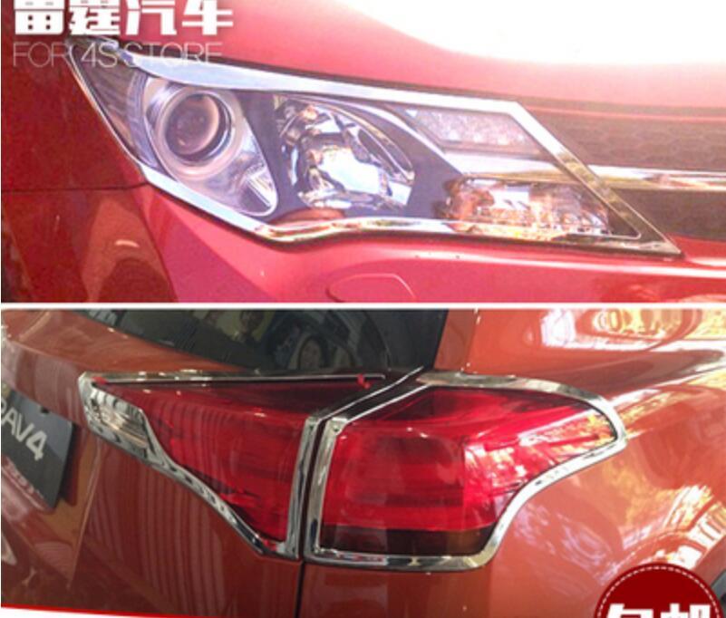 Faro delantero ABS cromado para coche + cubierta de luz trasera embellecedora para TOYOTA RAV4 2013 2014 2015 envío gratis