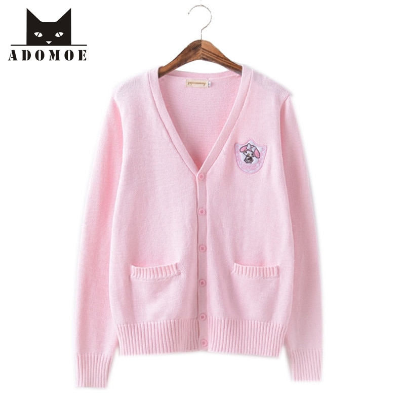 XS-XL de otoño para mujer, Jersey de punto Rosa Suave hermana encantadora caricatura japonesa Corea JK adolescentes Sweet Sweater Cardigans