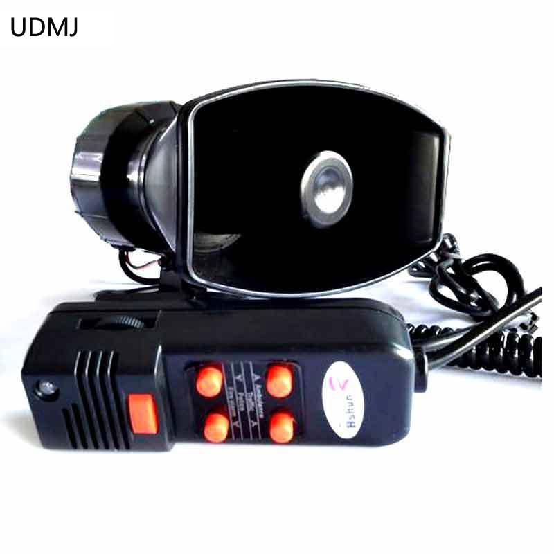 UDMJ سيارة سباق سيارات فان شاحنة 12 فولت الإنذار الإلكتروني الشرطة صفارة الإنذار القرن رجال الاطفاء سيارة اسعاف مكبر الصوت مع مايك 100 واط