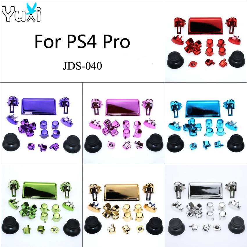 YuXi Chrome Dpad R1 R2 L1 L2 botones para Sony Dualshock 4 Pro Slim controlador inalámbrico JDS-040 nueva versión