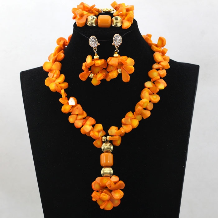 Newly Arrived Fancy Coral Beads African Nigerian Wedding Choker Necklace Set Dubai Bridal Accessory Set Free Shipping ALJ777