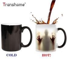 Transhome el caminar muerto taza cambia color café taza para té de cerámica taza tazas de viaje taza de café las manos ensangrentadas tazas de porcelana