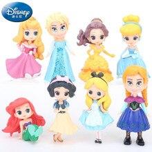 Disney Prinzessin Spielzeug 8 stücke 5-9cm Moana Schnee Weiß Merida Action-figuren Meerjungfrau Tiana Jasmin Aisha Anna puppen Kinder Spielzeug Für kind