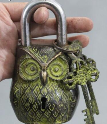 free shipping 12cm Rare Chinese Ancient Bronze Owl Bird Birds Door Lock Latch Key Set Statue