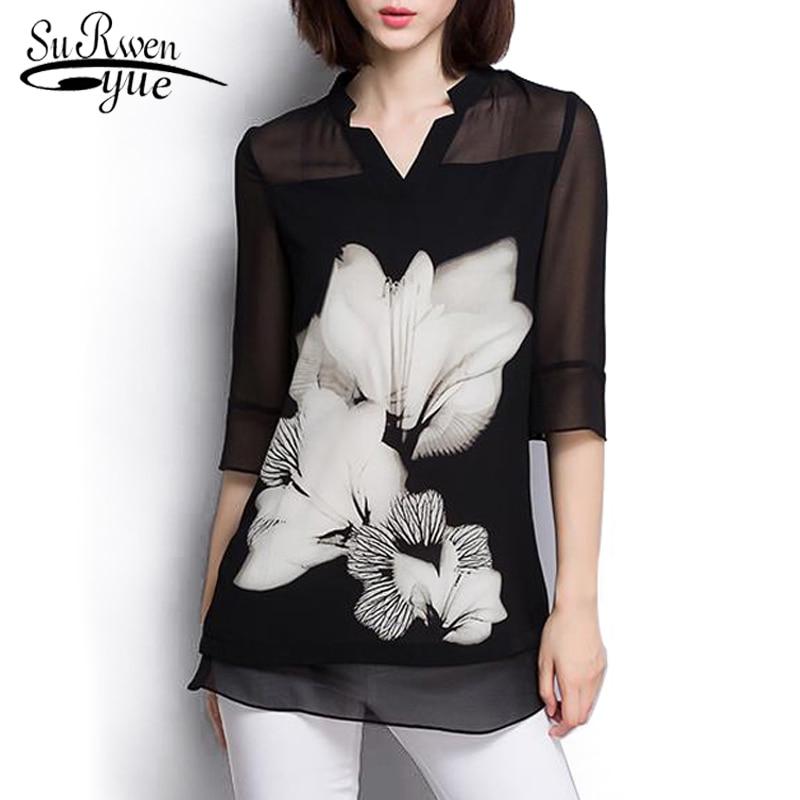 Mulheres chiffon blusa verão 2020 moda plus size preto blusa feminina camisa de manga longa roupas femininas blusas 60c 25