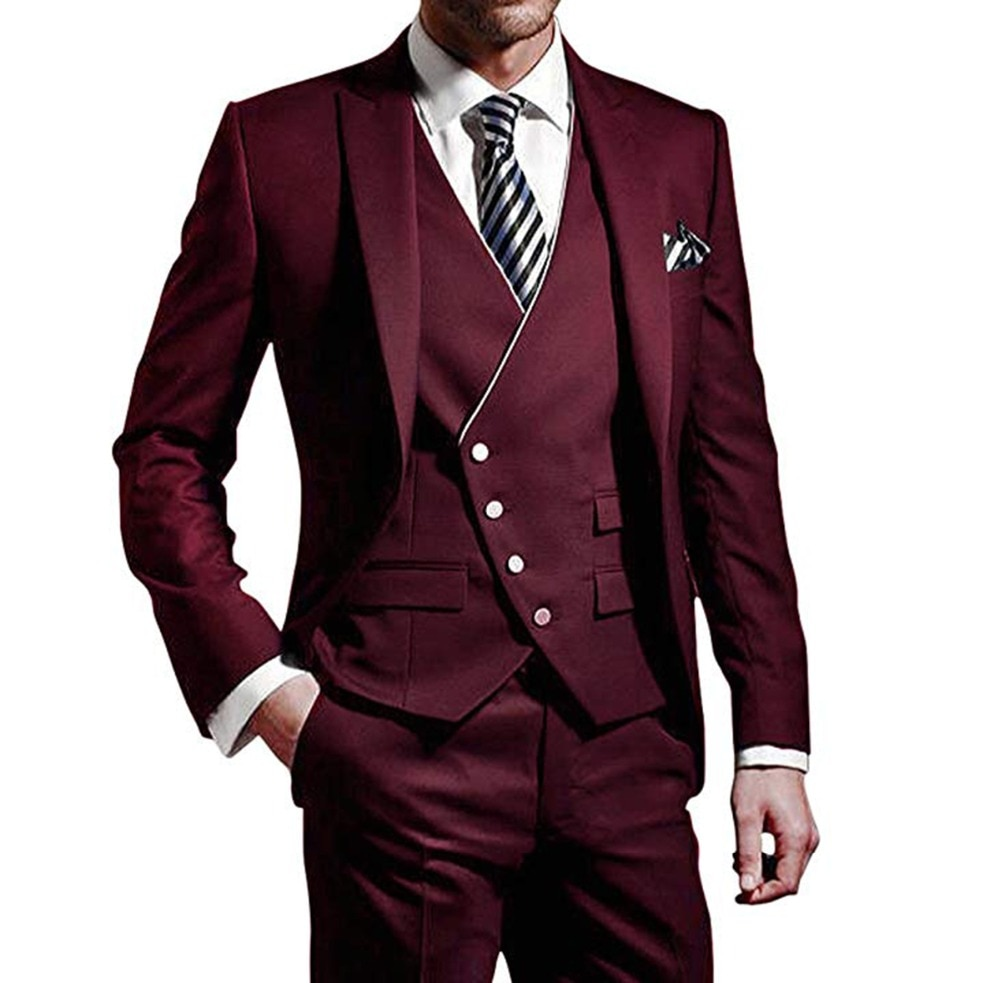 2019 New Mens Slim Fit Suits One Button Grooming Tuxedo Business Custom 3 Pieces Costume Homme Jacket Vest Pants