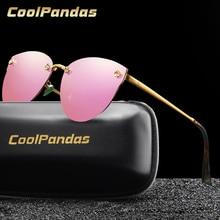 2019 Luxury Brand Designer Women Polarized Sunglasses Classic Pink Cateye Mirror Glasses Steampunk for Ladies rays Goggles UV400