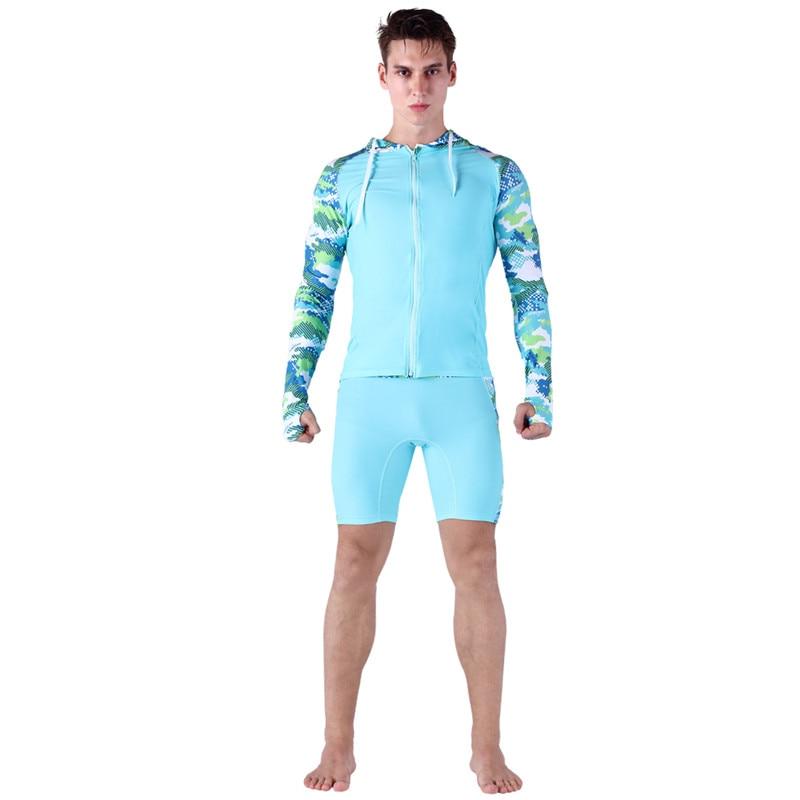 ملابس سباحة رجالية مضغوطة من SABOLAY ملابس سباحة بقلنسوة مزودة بسحّاب للحماية من الأشعة فوق البنفسجية قمصان طويلة الأكمام لركوب الأمواج شورتات للسباحة