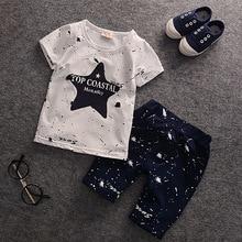Vêtements dété pour bébés garçons   Nouvelle collection, bleu, étoiles, T-shirts + pantalons, tenue dété pour enfants, 2016