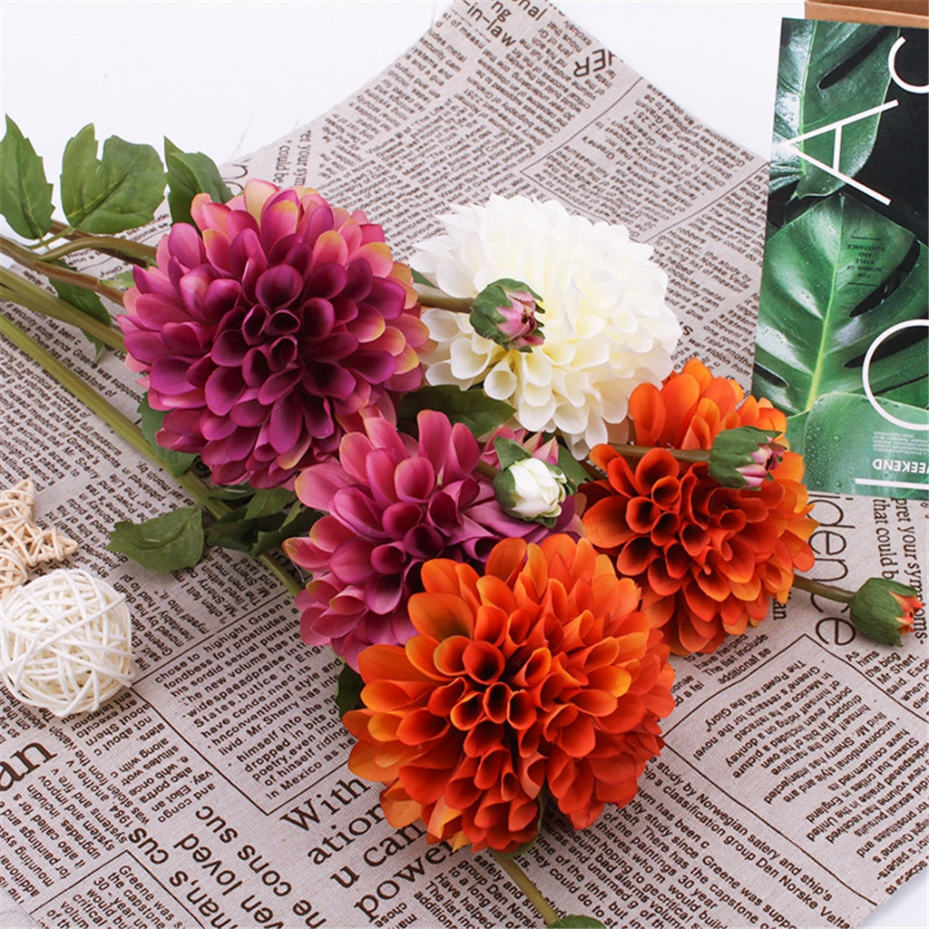 Ramo de Dalia de flores artificiales para boda, decoración para el hogar, flor Artificial de dalia, crisantemo D9 #