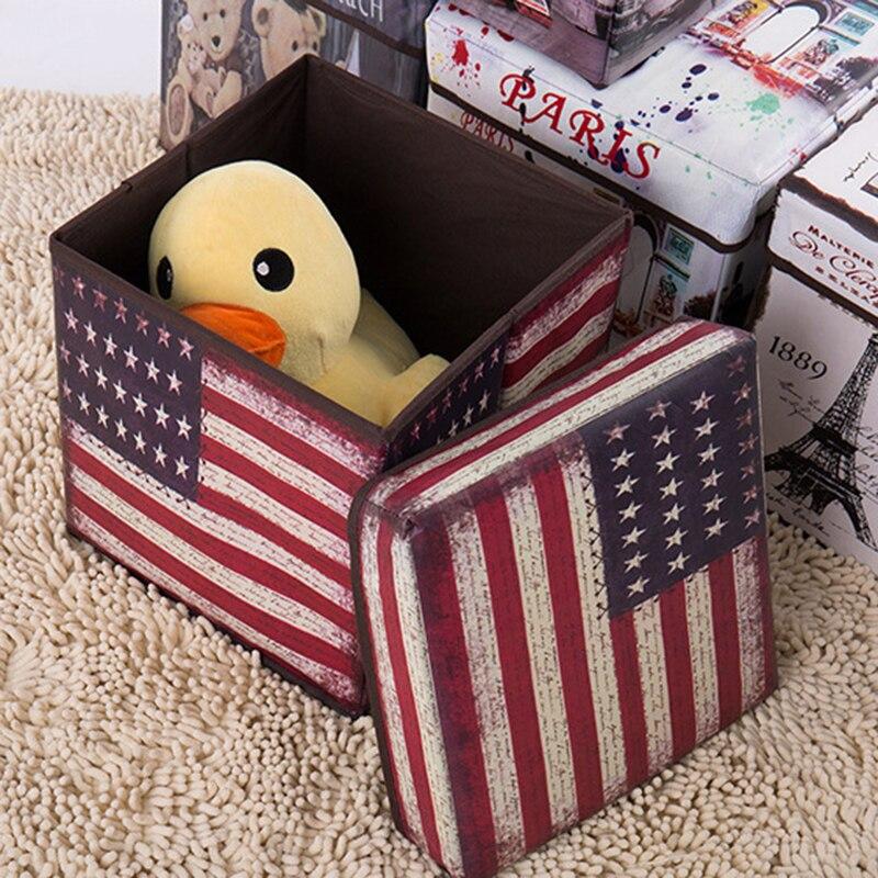 Taburete plegable multifuncional, caja de almacenamiento impresa Vintage para el hogar y...