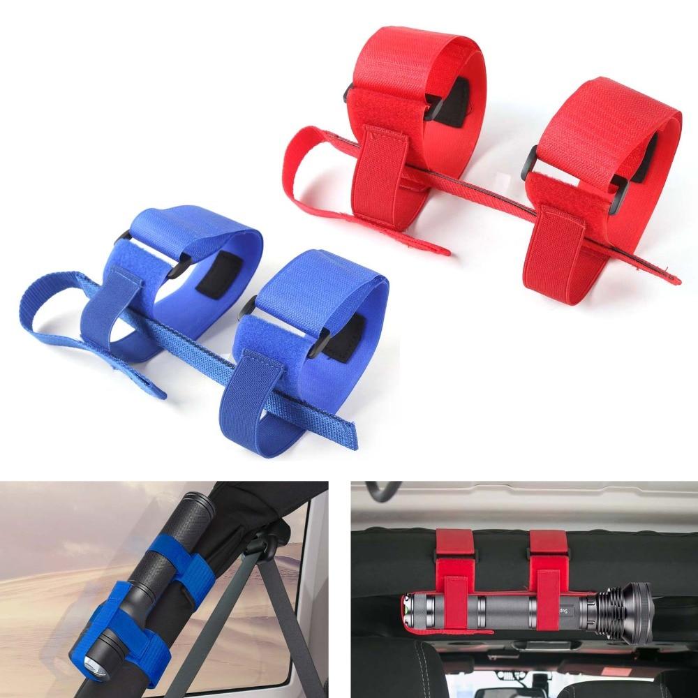1 pc ABS + Nylon Acessório Interior Roll Bar Mount Mag Lanterna Titular Cintas Para Jeep Wrangler Vermelho Cor Azul acessórios do carro