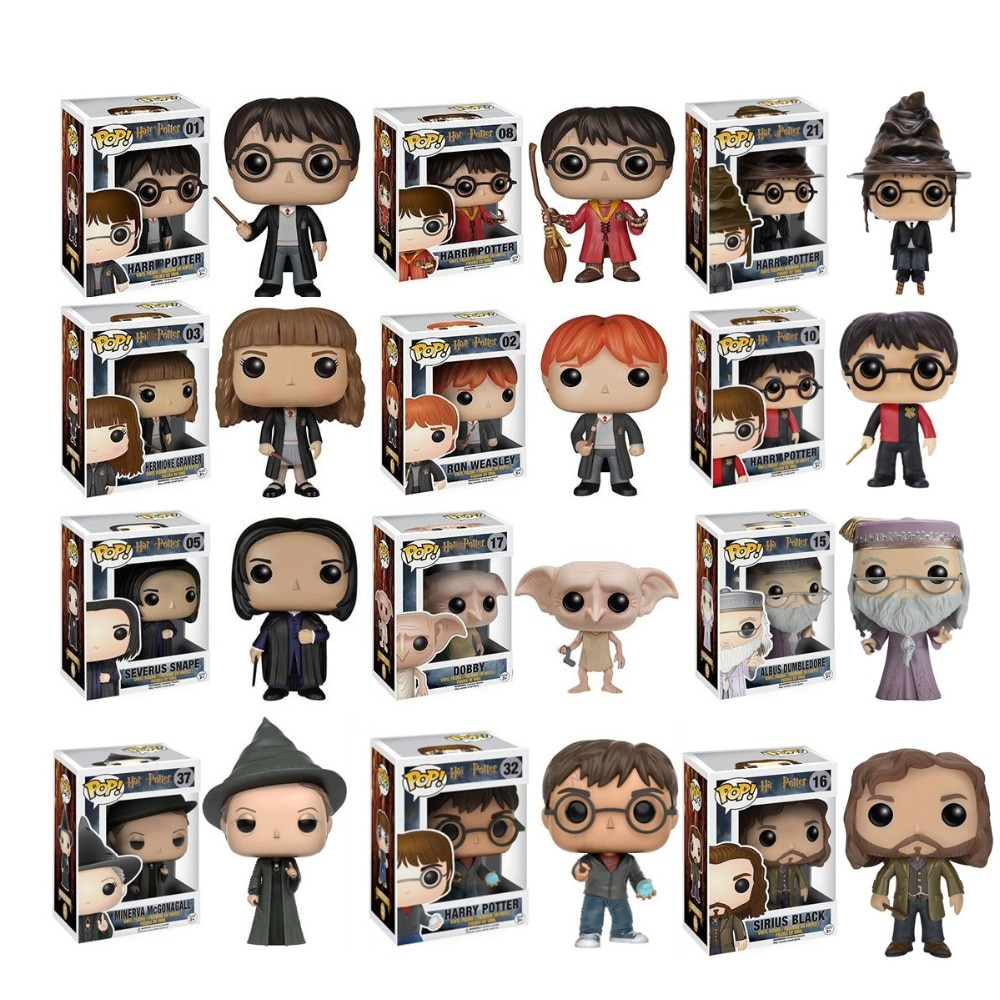 Coleção de action toy figures do harry potter, brinquedos pop, harry potter, snape, dobby, luna, fred, ron, weasley, hermione, dumbledorer, malfoy