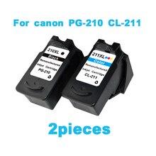 2 uds cartucho de tinta para canon PG210 CL211 Pixma IP2702 MP240 MP250 MP270 MP490 MX320 MX340 tinta de impresora cartuchos PG 210 CL 211