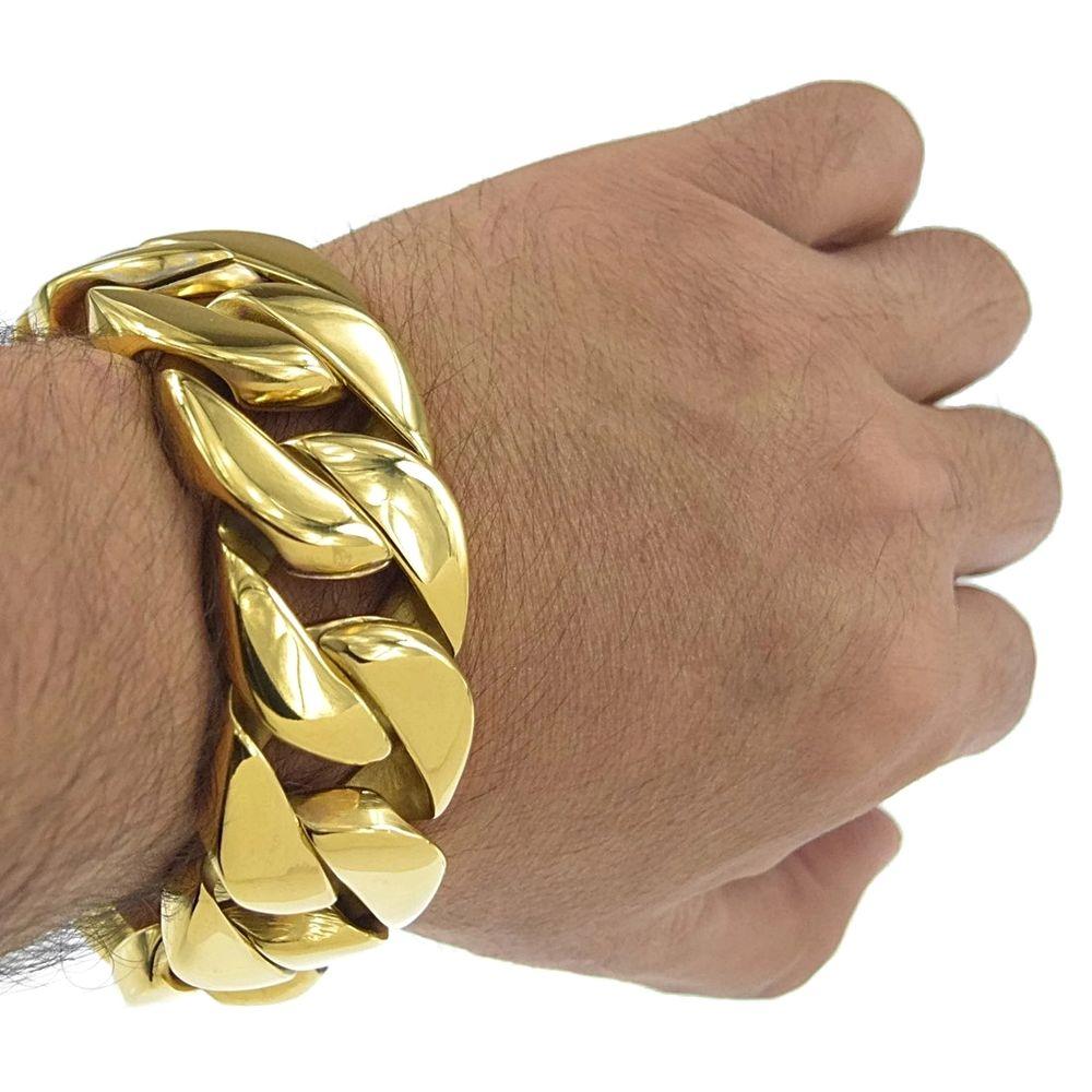 31mm enorme acabado dorado borde redondo 316L pulsera de acero inoxidable para hombre cadena B155 22cm 24cm lenth