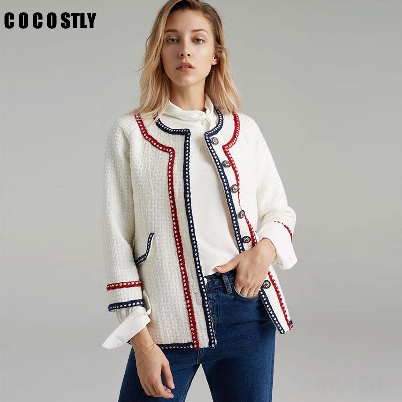 vintage tweed jacket coat pockets decorate long sleeve O neck coats fashion women jacket casual outerwear chic tops